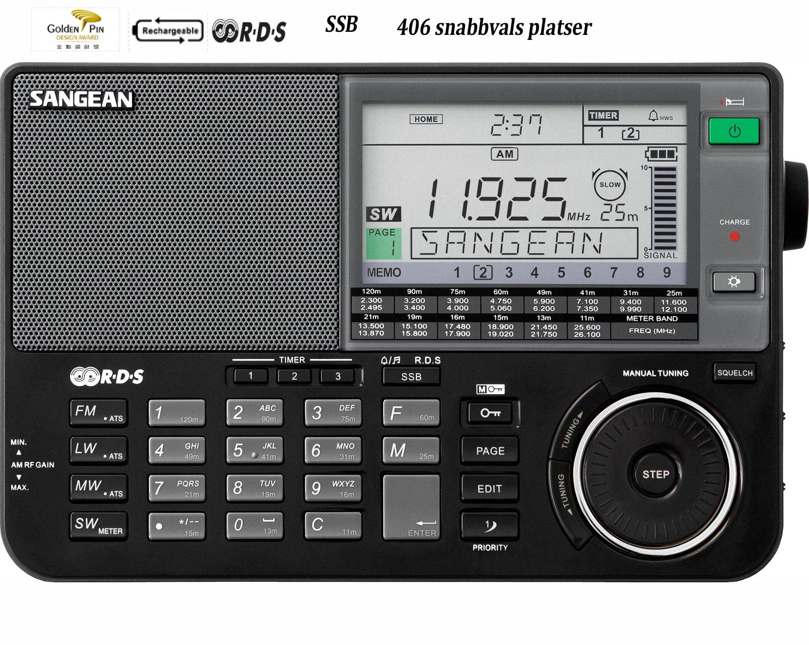 Sangean DX radio i svart
