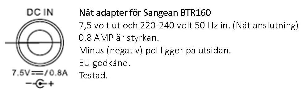 Sangean nät adapter för BTR160