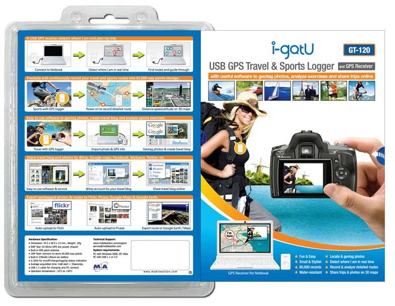 USB GPS Travel & Sports Logger