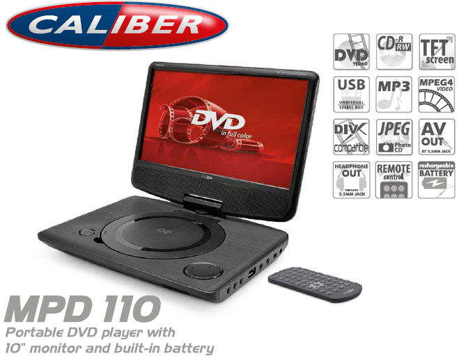 Caliber portabel dvd 10 skärm