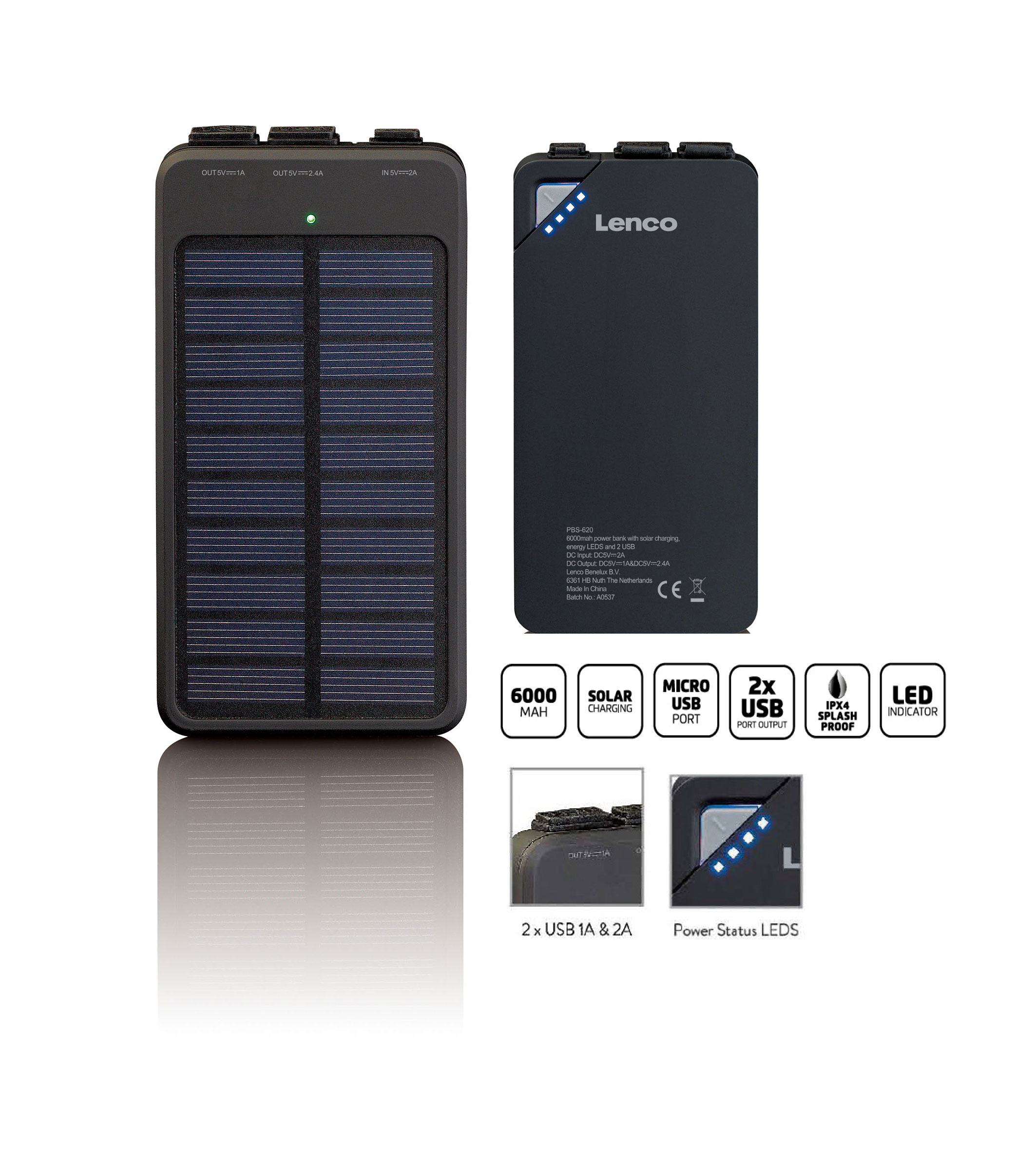 Lenco Powerbank Solarpanel 5v